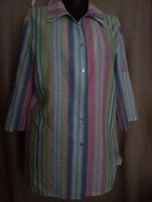 Peter Hahn Colletto camicia multicolore Lino
