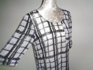 PULZ Jeans Blouse à enfiler blanc-noir fibre textile