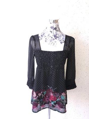 Bluse von QS by s.Oliver; schwarz mit weißen Punkten und Blumen; Größe 36