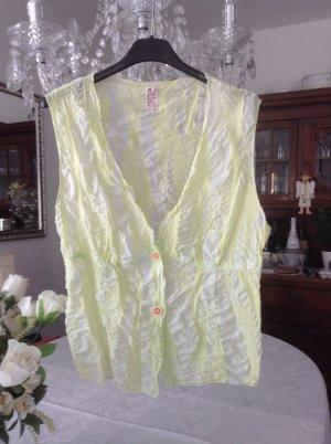 Bluse von Replay / weiß-gelb-grünlich / Gr. 34/36