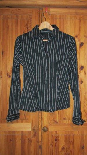 Bluse von S.Oliver, Nadelstreifen, schwarz - Gr. 40