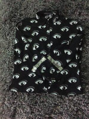 Bluse von Sassyclassy in schwarz weiß mit Augen und Steinchen