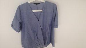 Bluse von someday zelisa chambrey in hellblau, Wickeloptik mit Kurzarm in Gr.36