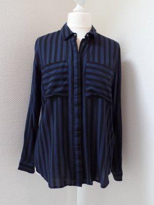 Bluse von Vila + Gr. L + schwarz/lila gestreift