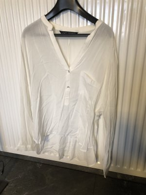 Zara Woman Blusa transparente blanco