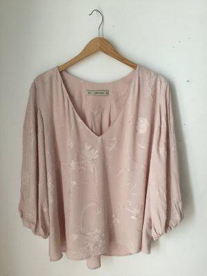 Zara Blusa de manga larga rosa-rosa claro