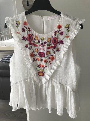 Zara Woman Ruffled Blouse white