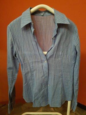 Bluse von Zara Basic blau-grau-gestreift