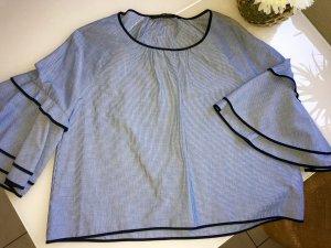 Bluse von Zara Basic Collection weiss/blau