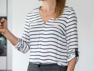 Zara Woman Blusa de manga larga blanco-azul