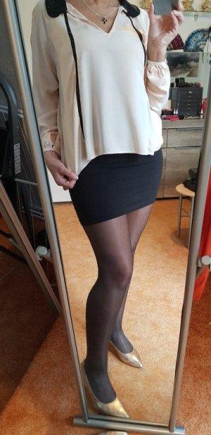 Zara Blusa collo a cravatta color carne-nero