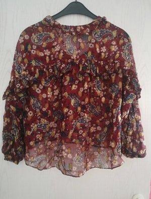 Zara Blusa rojo oscuro-burdeos