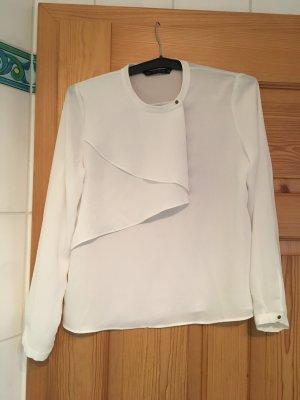Bluse von Zara in M weiß Büro elegant Volant