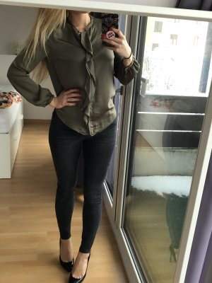 Zara Tie-neck Blouse green grey-khaki
