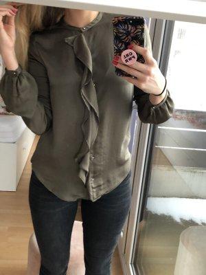 Bluse von Zara khaki Volants S