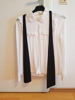 Zara Blusa collo a cravatta bianco-nero