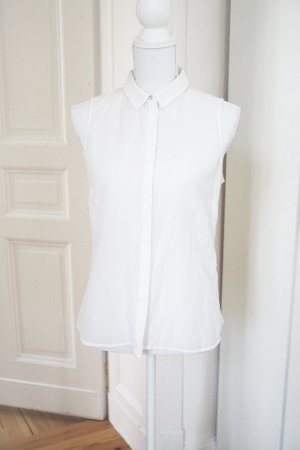 Bluse weiß ärmellos 30% Seide 70% Baumwolle fein leicht Luxus Premium 38 M