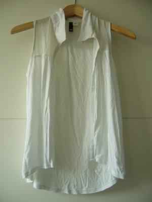 Bluse weiß ärmellos oben Mesh minimal transparent H&M XS 34