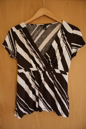 Bluse weiß braun gestreift Gr. S M 36 38 #Shirt