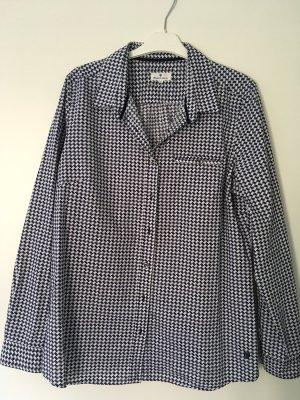 Basefield Blusa de manga larga blanco-azul oscuro Algodón