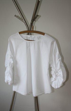 Bluse - weiß - geraffte Ärmel