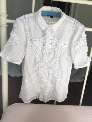 Bluse weiß Hemd Stickerei topshop bayern Dirndl Baumwolle  Vintage Retro romantic weiß Bauern chic t Shirt ärmel Kragen Business retro