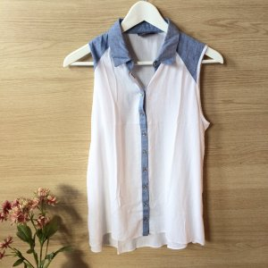 Bluse | weiß | Jeans | blau | Kragen | S