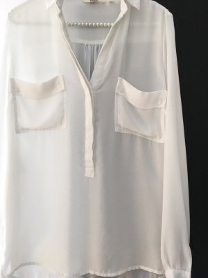 Anne L. Blusa de manga larga blanco