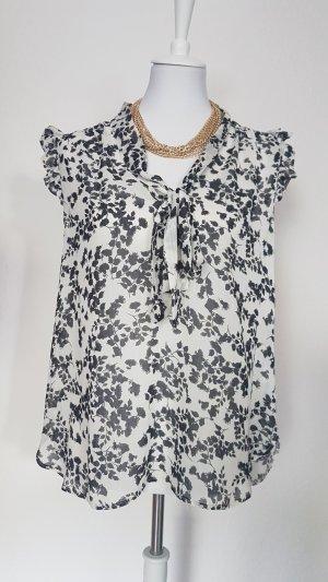 Bluse weiß mit schwarzem Muster