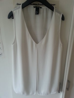Bluse weiß ohne Ärmel mit V-Ausschnitt