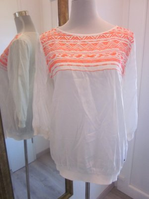 Bluse weiss orange Gr 42 Langarm