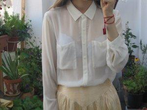 bluse weiß schlicht transparent durchscheinend H&M