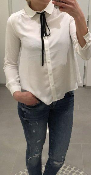 Bluse weiß schwarz Blogger xs s 34 36 Hemdbluse Oberteil Fashion neu