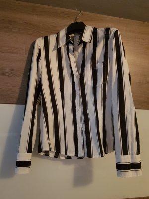 Bluse weiß schwarz mit Knöpfen