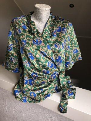 Blusa cruzada azul-verde