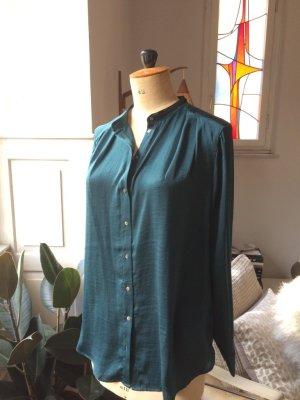Bluse, wunderschönes Smaragdgrün, schwarze Details, Gr. 38
