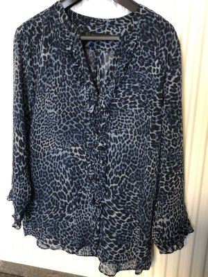 Zara Basic Blusa transparente azul-negro