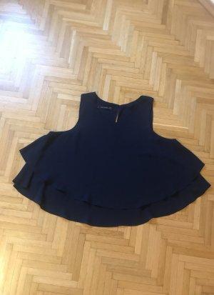 Zara Basic Ruffled Blouse dark blue