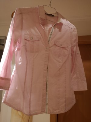 Zara Basic Blusa de cuello alto rosa claro
