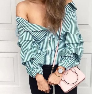 Bluse zara grün weiß gestreift Streifen off shoulder Blogger S 36 schulterfrei Top