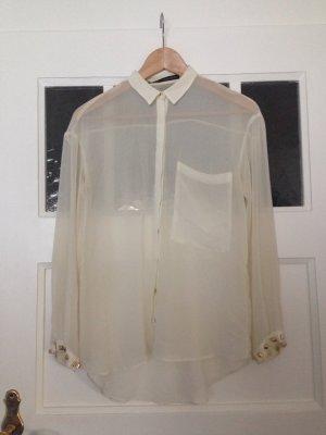 Bluse | ZARA | transparent | goldene Nieten | Perlmuttknöpfe | Hipster |Blogger
