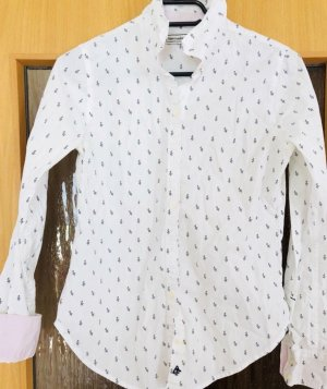 Abercrombie & Fitch Shirt Blouse white-azure