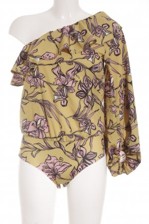 Blusen-Body sandbraun-hellrosa Blumenmuster