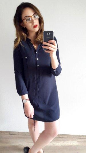 Blusen Kleid Navy Blau 3/4 Ärmel
