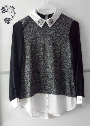Blusen Pullover mit Glitzerstein Kragen Gr. 36