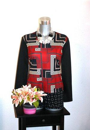 Blusen Shirt gr.38/40 Pullover Retro Rot Schwarz