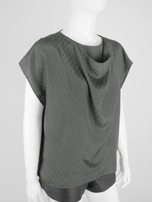 Blusen-Shirt Khaki mit Wasserfall-Ausschnitt