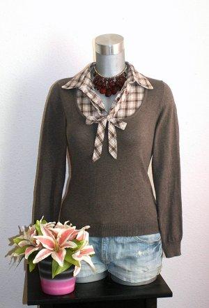 Blusen Shirt Pullover Gr. 36/38 Braun Kariert Bluse Schleife Twin Set