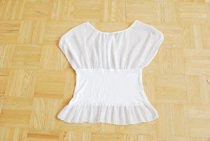 Blusen-Shirt, transparent/druchsichtig, weiß von FOFOLLE, Paris, Gr. S