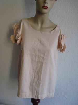 Blusen-Shirt von Selected Femme, rosefarben mit Blumenapplikationen